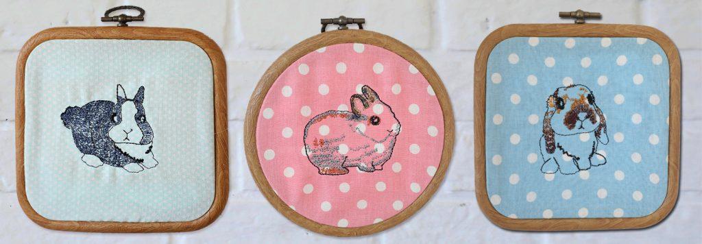 รูปลายปัก Rabbit is Love by Jeabja Fufu ใส่สะดึงแขวนโชว์บนผนัง
