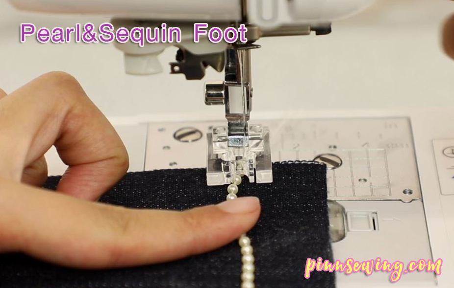 เย็บมุกติดผ้ายีนส์ด้วยตีนผี Pearl&Sequin Foot