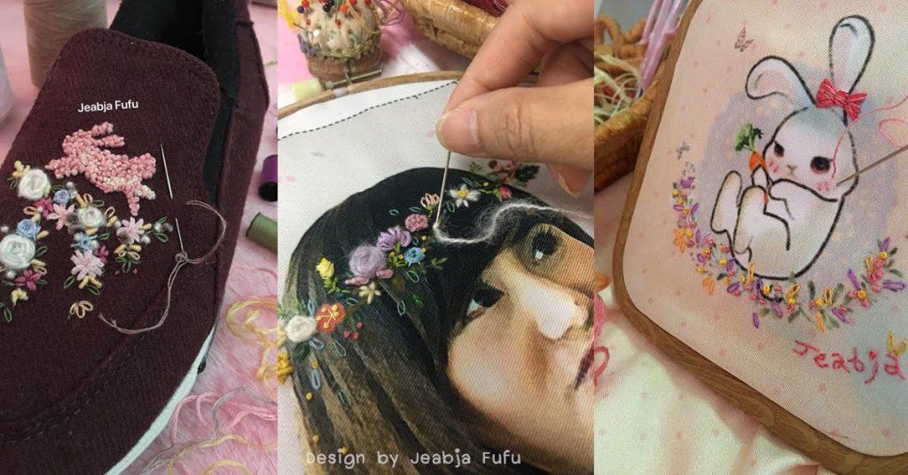 Jeabja Fufu Profile งานพิมพ์ผ้าผสมงานปักมือ